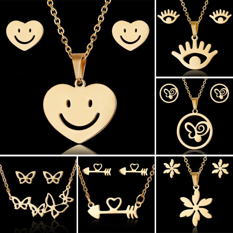 Stainless Steel Sets For Women Emoji Butterfly Fish Bone Necklace Earrings Jewelry Set