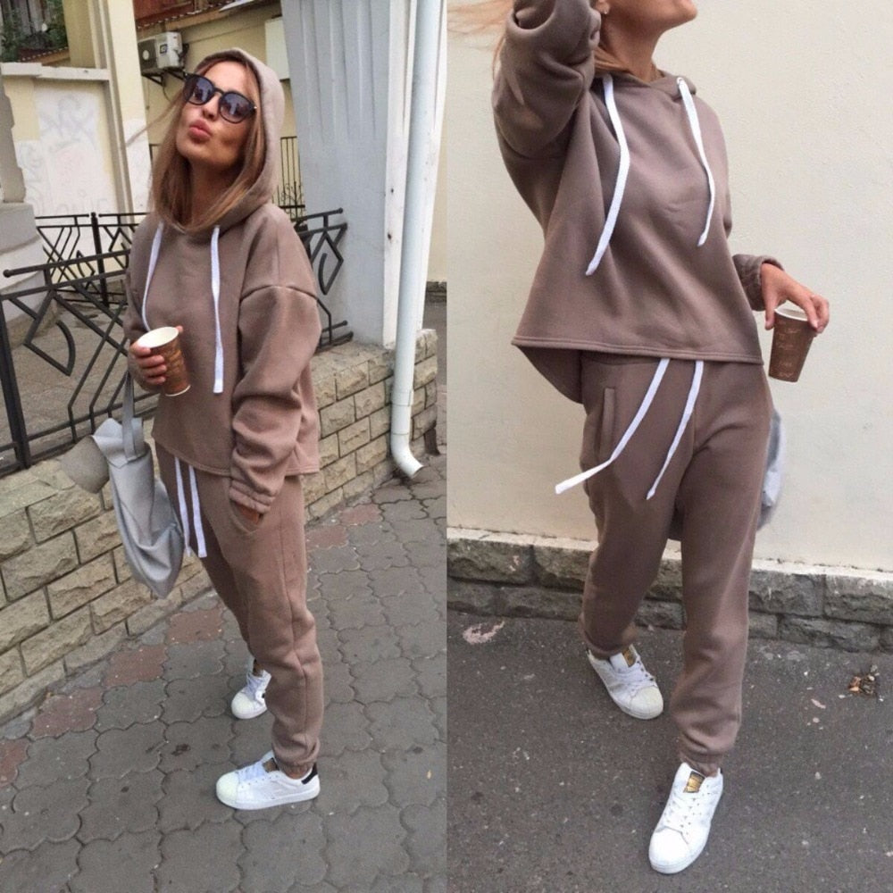 2019 Autumn Tracksuit Long Sleeve Thicken Hooded Sweatshirts 2 Piece Set Casual Sport Suit