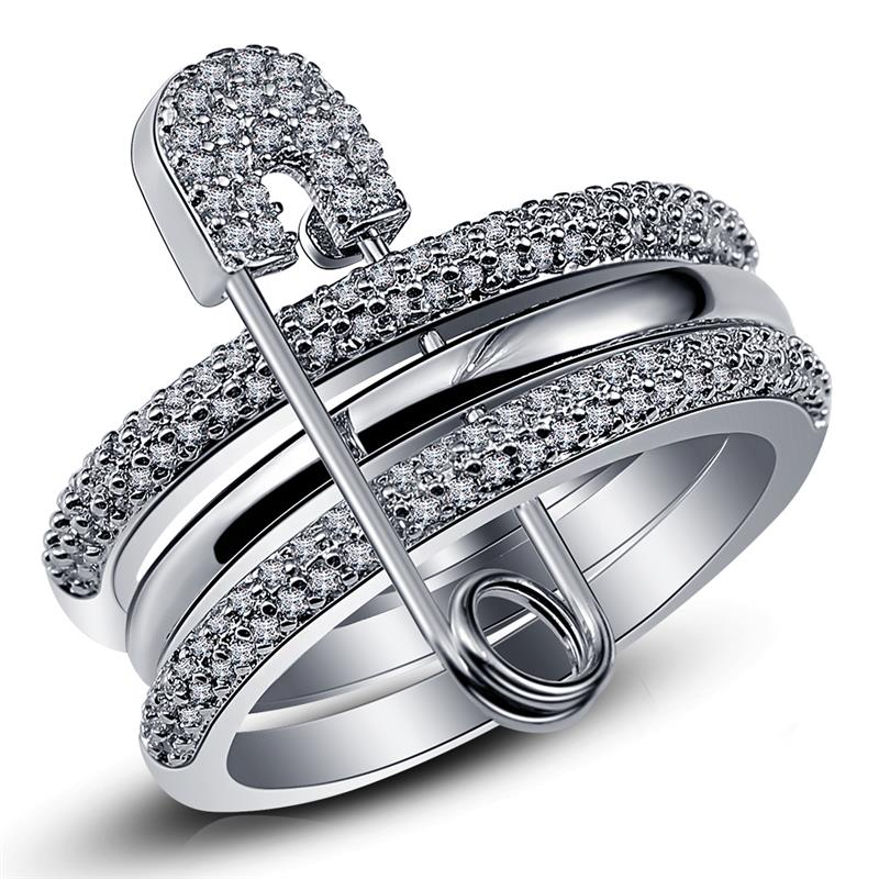 Wide Silver Finger Rings Set For Women With Pin Cubic Zircon Ring Pave Setting Female Party Accessory Angel Anillos Mujer Bague
