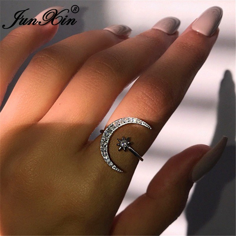 JUNXIN Boho Female Open Star Moon Rings For Women 925 Silver Rose Gold Filled Cute White Crystal Ring Staking Minimalist Jewelry