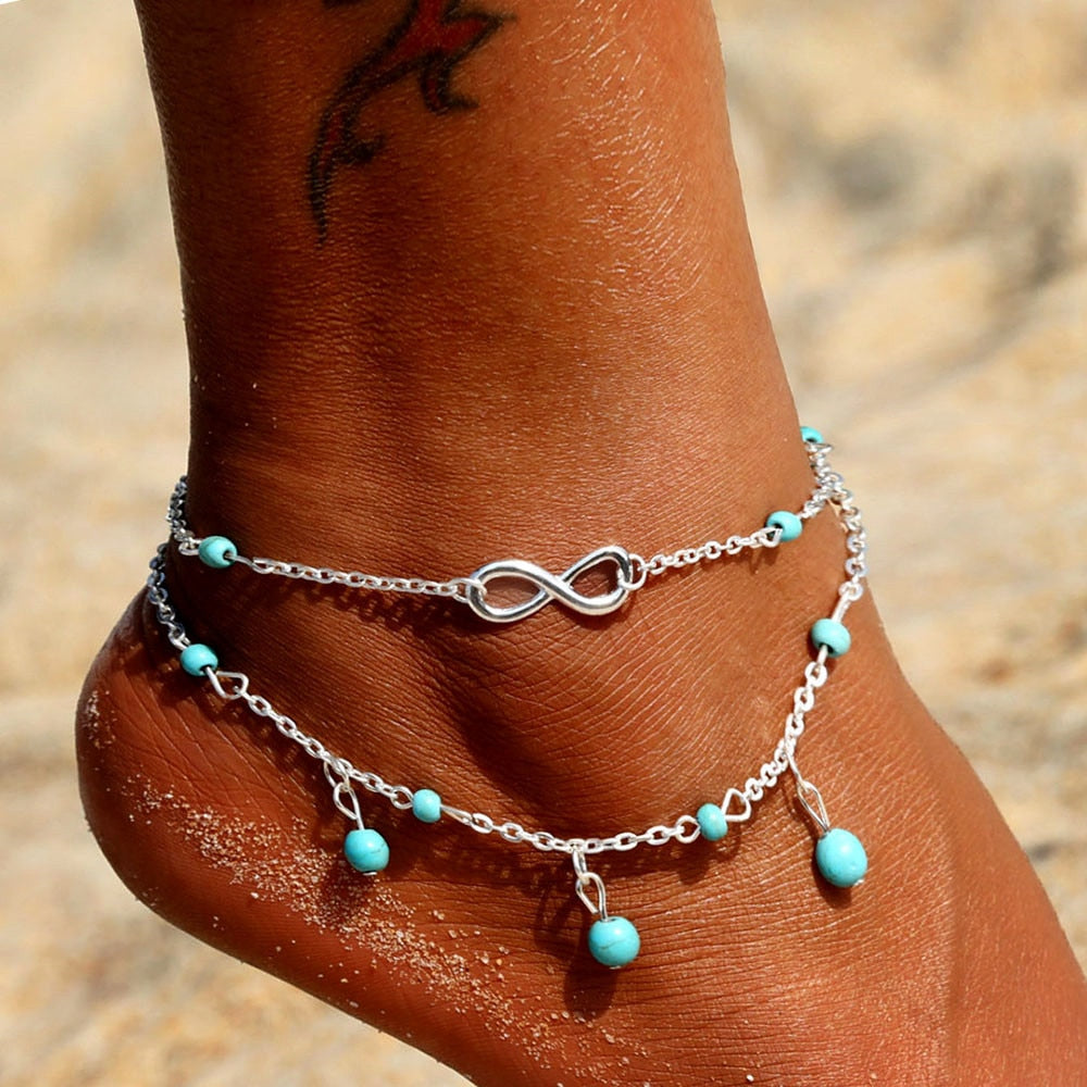 KINFOLK Vintage Antique Silver Color Pearl Anklet Women Big Blue Stone Beads Bohemian Ankle Bracelet Cheville Boho Foot Jewelry