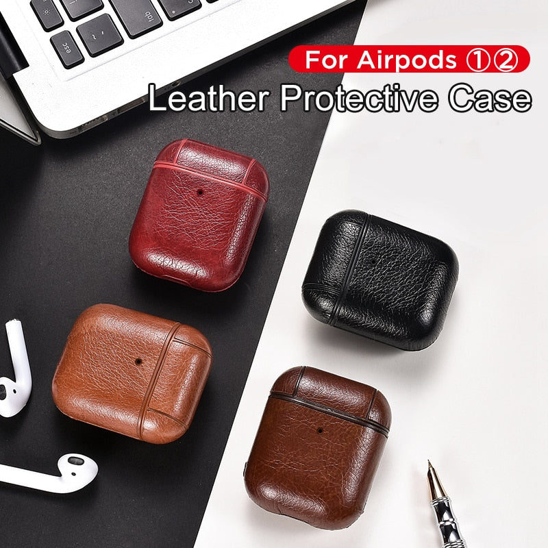 Airpods Case For Apple Airpod 1 2 Strap Leather with Buttons Headphone Case new