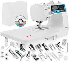 "Load image into Gallery viewer, Janome 4120QDC Computerized Sewing Machine w/Hard Case + Extension Table + Instructional DVD + 1/4"" Seam Foot w/Guide + Overedge Foot + Zig Zag Foot + Zipper Foot + Buttonhole Foot + Needles + More!"