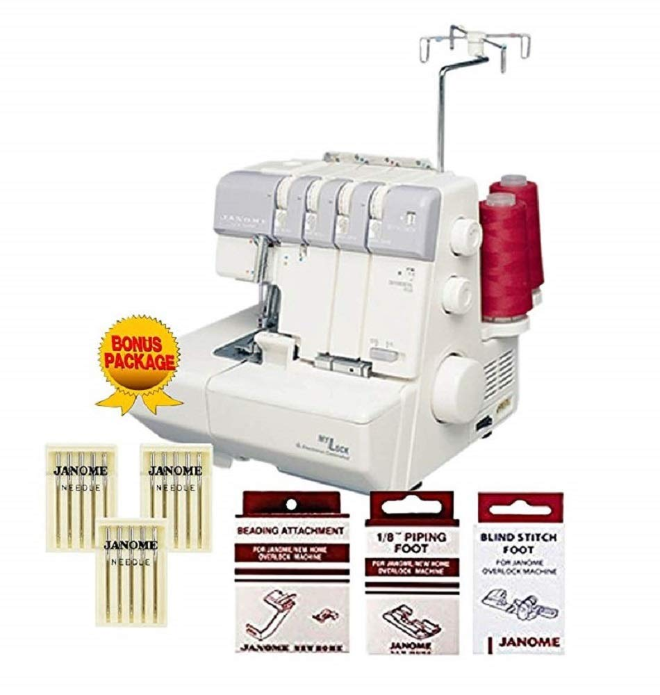Janome MyLock 634D Overlock Serger, with Self Threading Lower Looper, Differential Feed, 2 needle, 2/3/4 Thread Overlock Stitching with FREE BONUS PACKAGE!