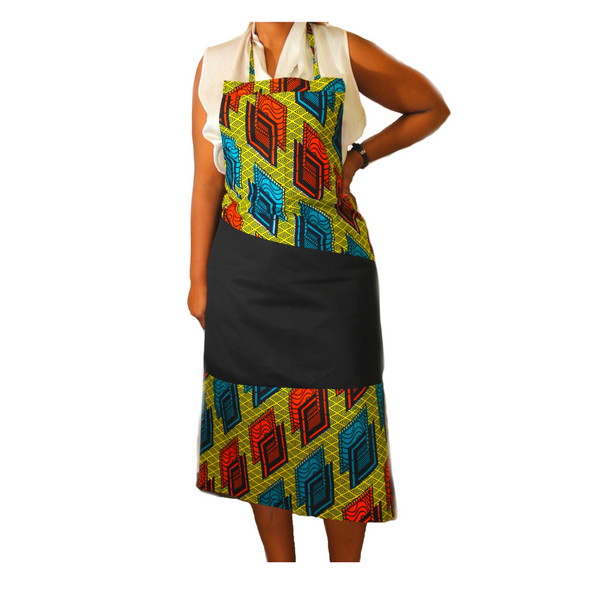 Apron #2: Black/Green Medley