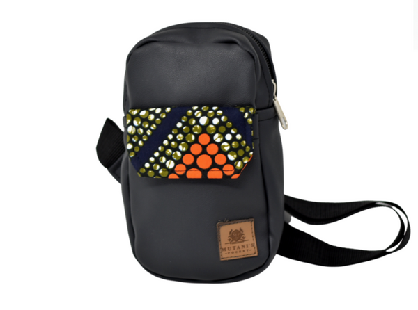 vegan leather crossbody handbag african print