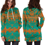 Between the Mountains Teal Orange Hoodie Dress
