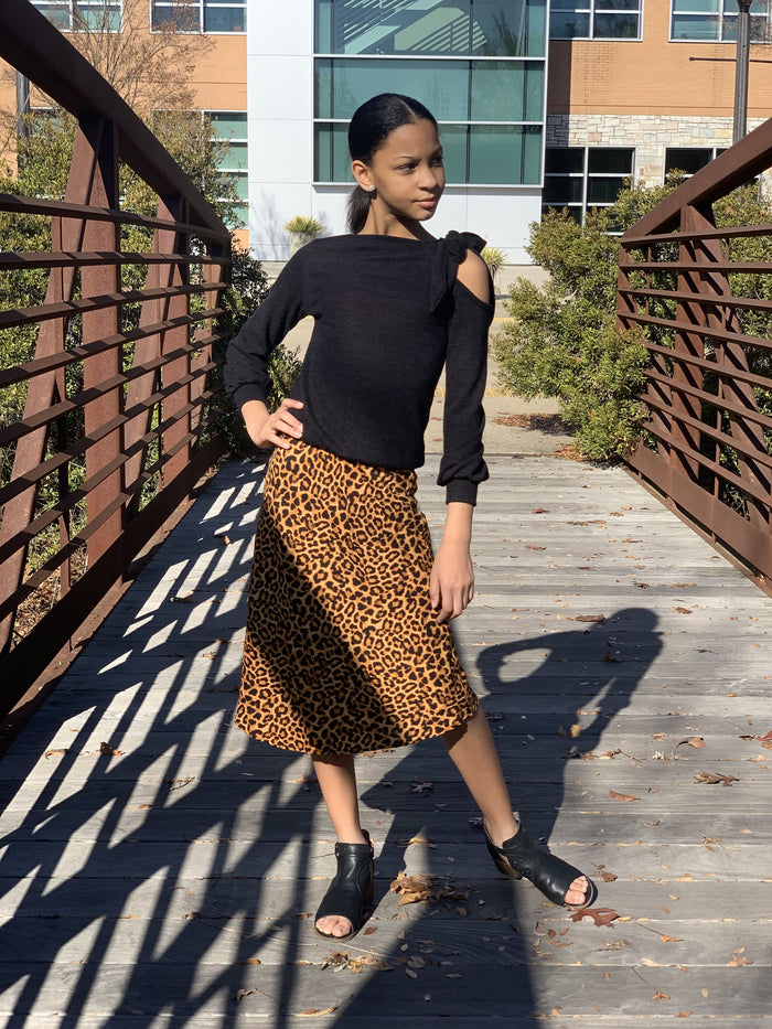 Brown High Waist Leopard Skirt
