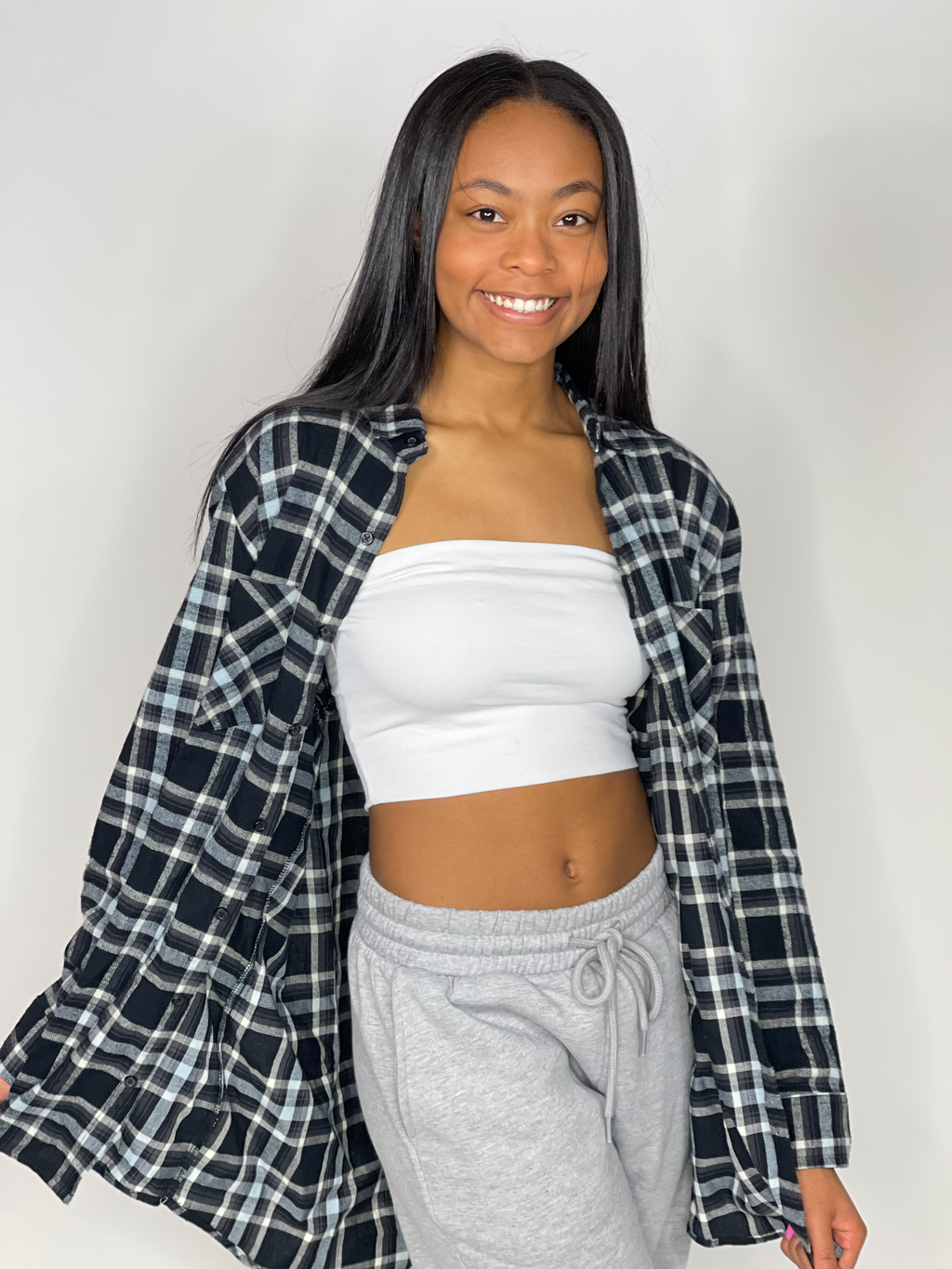 The Boyfriend Plaid Flannel Top-Black