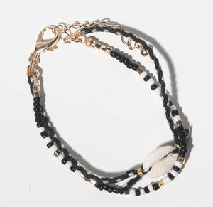 black seashell bracelet and accessories for girls