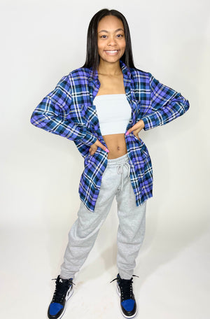 The Boyfriend Plaid Flannel Top-Multicolor