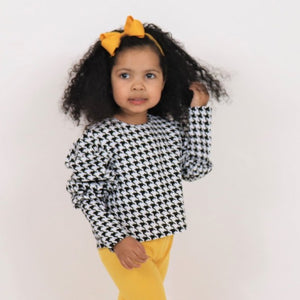 The Houndstooth Puff Sleeve Top