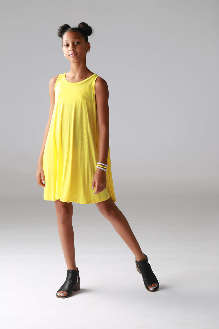 Yellow Sleeveless Draped Tunic Dress