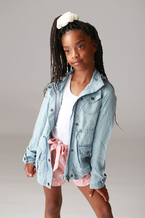 Girls light washed, denim jacket with hoodie, zipper, button accents, drawstring with pockets