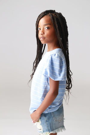 blue striped, puffy sleeve,, girls, tweens, tops, boutique, trendy, fashionable, stylish, cute clothing for girls