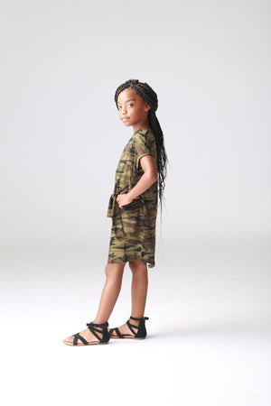 girls camo dress, t-shirt dress, tweens dress, trendy, cute, stylish school age dress