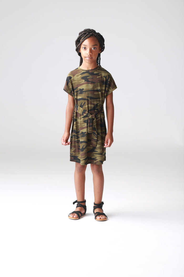 Camo Tie-Front T-shirt Dress