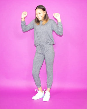 The Good Girl Jogger Set-Grey