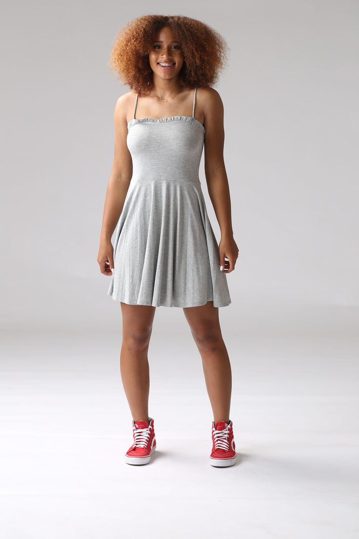 Gray Ruffle Swing Dress