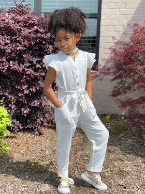 Off-White Ruffle Jumpsuit