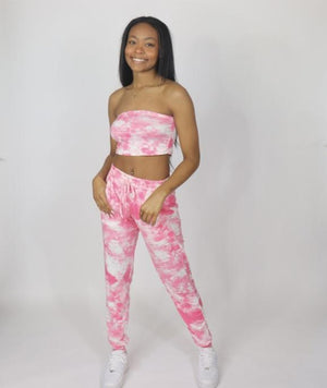 "Too Cute Tie-Dye Pants Set ""Pink"""