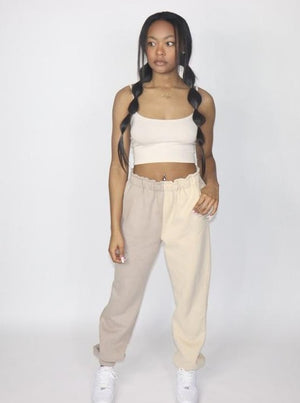 The Two-Tone Tan Sweatpants Set