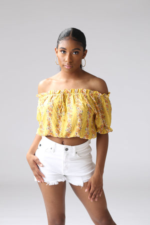 Mustard Floral Tassel Tie Crop Top, off shoulder cute, trendy