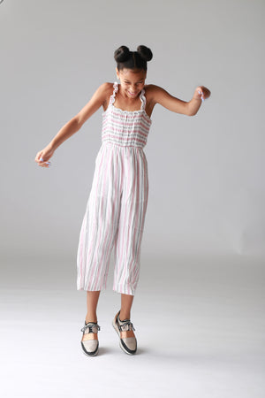Light Pink stripe jumpsuit for tween girls clothing store
