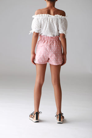tween shorts, cute girls paperbag tie shorts, pink printed, clothing, trendy stylish