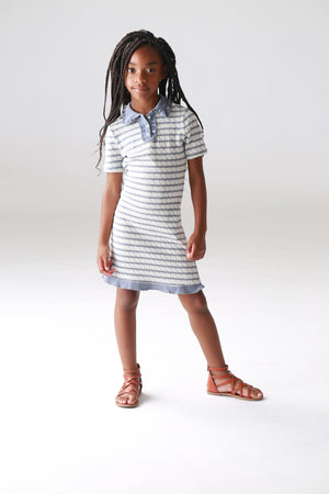 girls, tweens, sweater, sweater dress, striped, collar dress, clothing, cute for school, preppy