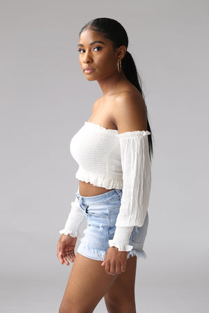 white off the shoulder crop top for teenage girls, cute, trendy, stylish