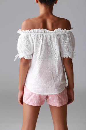 white off shoulders top, lace, cute, girls, tweens, boutique, trendy, fashionable, stylish, cute clothing for girls