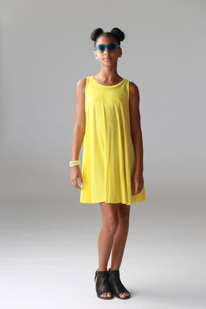 Girls Yellow Pocket Tunic Dress, tweens, girls, tunic, flowy dress, cute, trendy, comfortable, sleeveless, stylish boutique