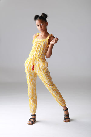 yellow jumpsuit for girls, tweens, cute, trendy fashionable, stylish clothing for girls