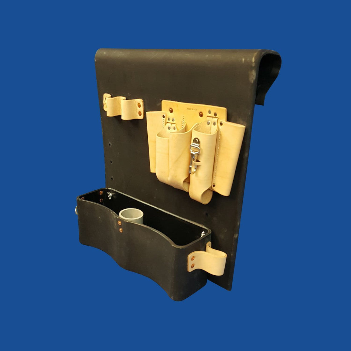 Thigh Brace Tool Tray - Leather Tool Pouch on Top - Bucket Truck Parts