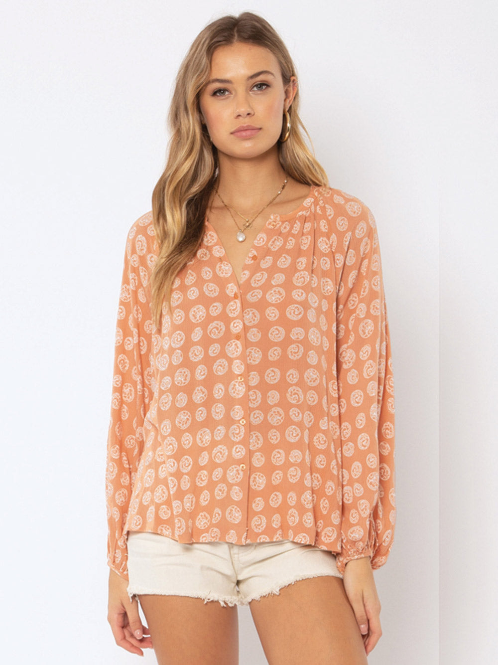 AMUSE SOCIETY Charmer Long Sleeve Woven Blouse - Cognac
