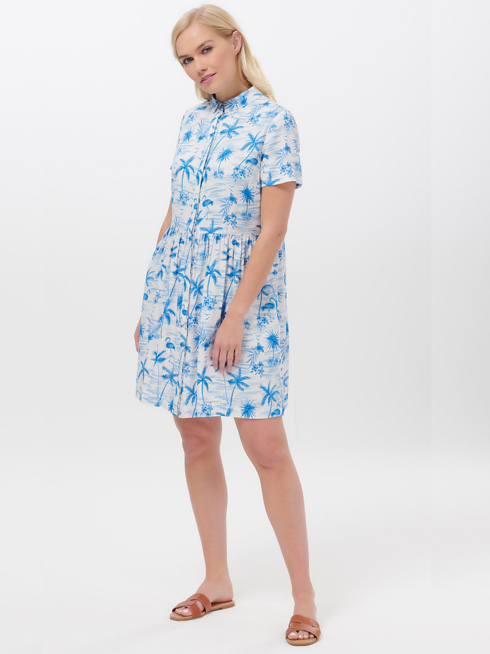 SUGARHILL BRIGHTON Keeley Hawaii Flamingo Shirt Dress