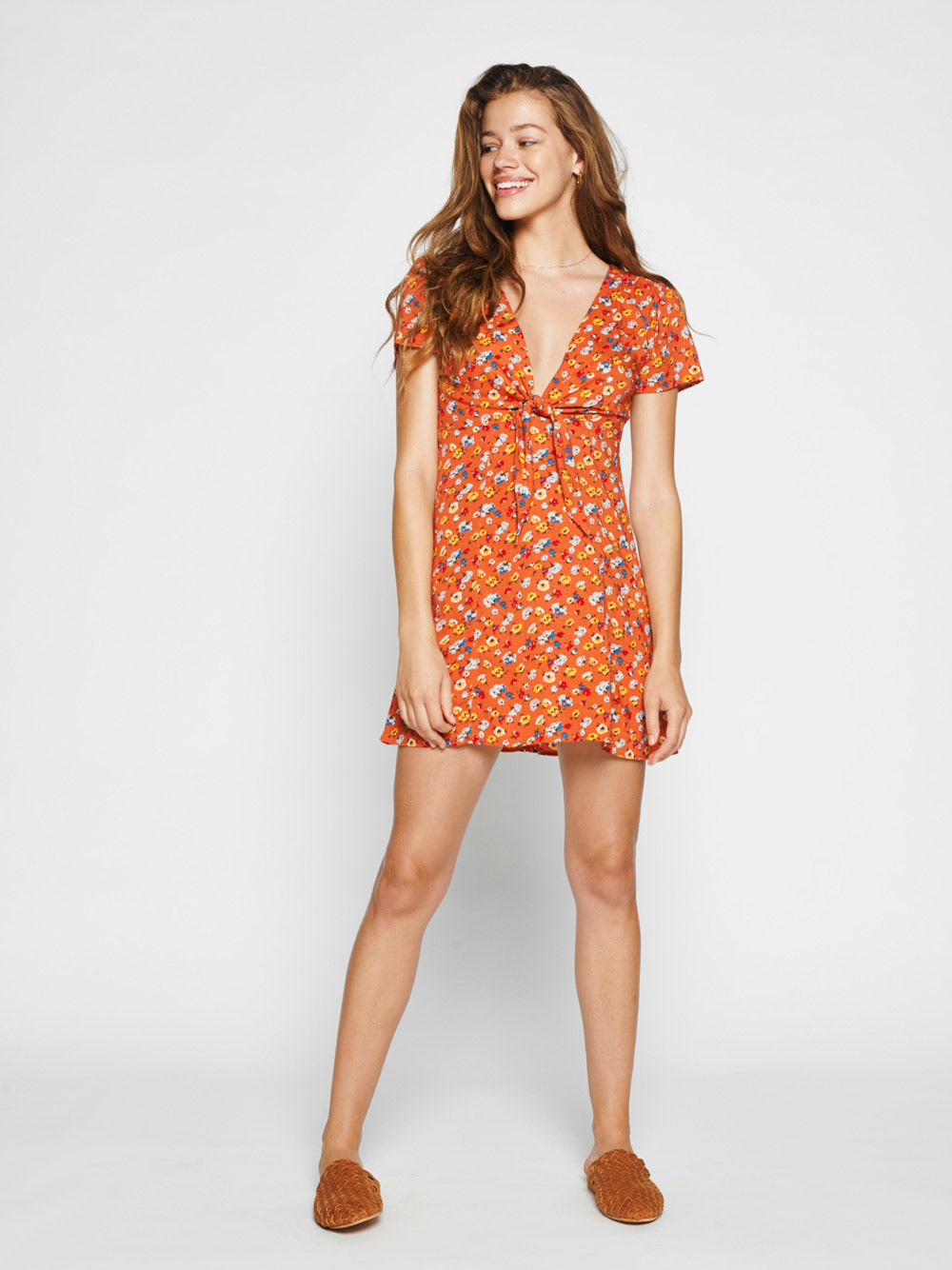 AUGUSTE Agnes Fleur Mini Dress - Rust