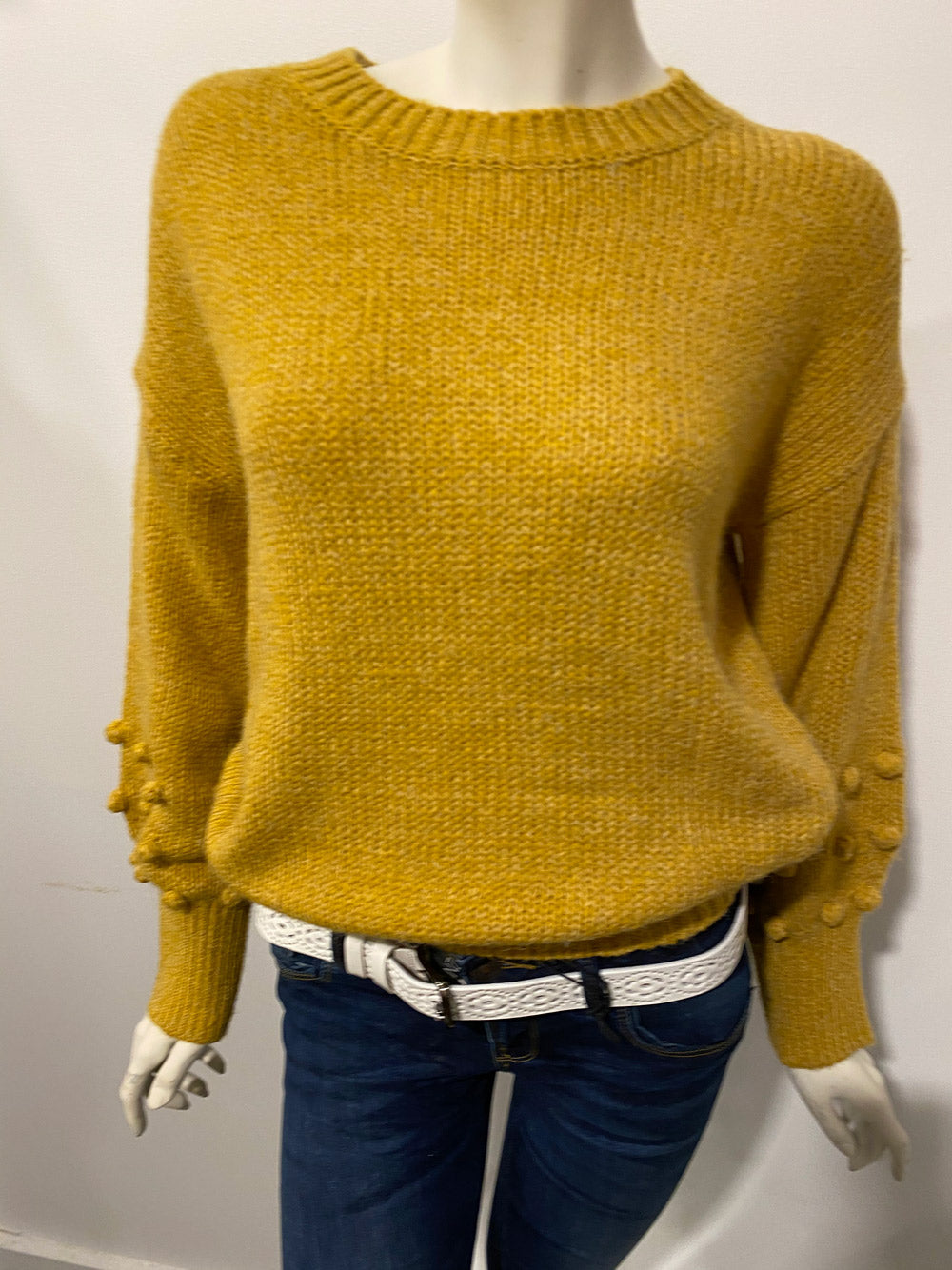 SUNNY GIRL Pom Pom Retro Knit - Yellow