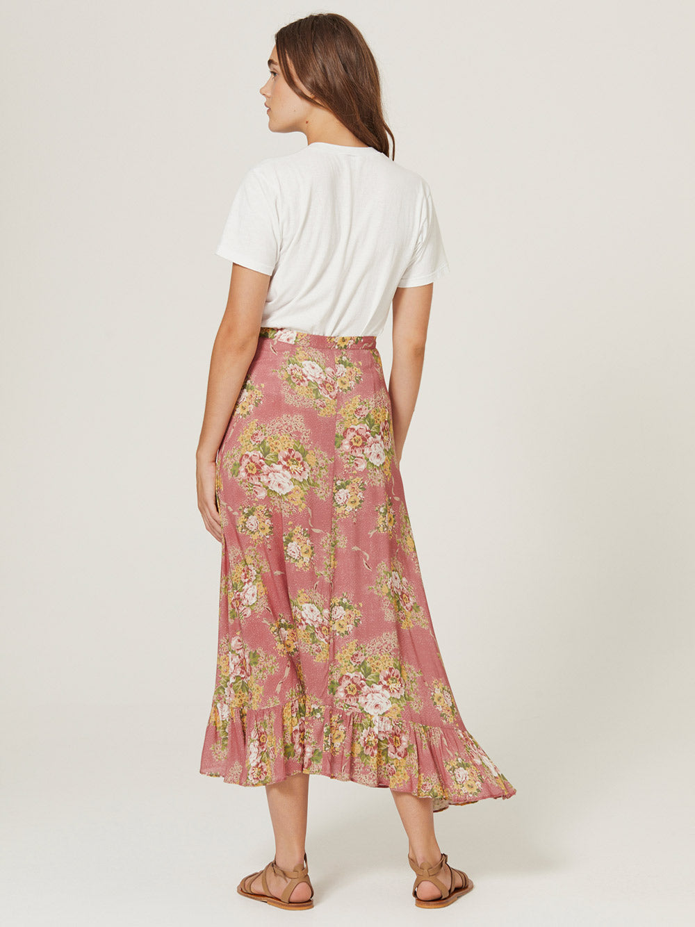 AUGUSTE Bonnie Cascade Wrap Skirt - Peach