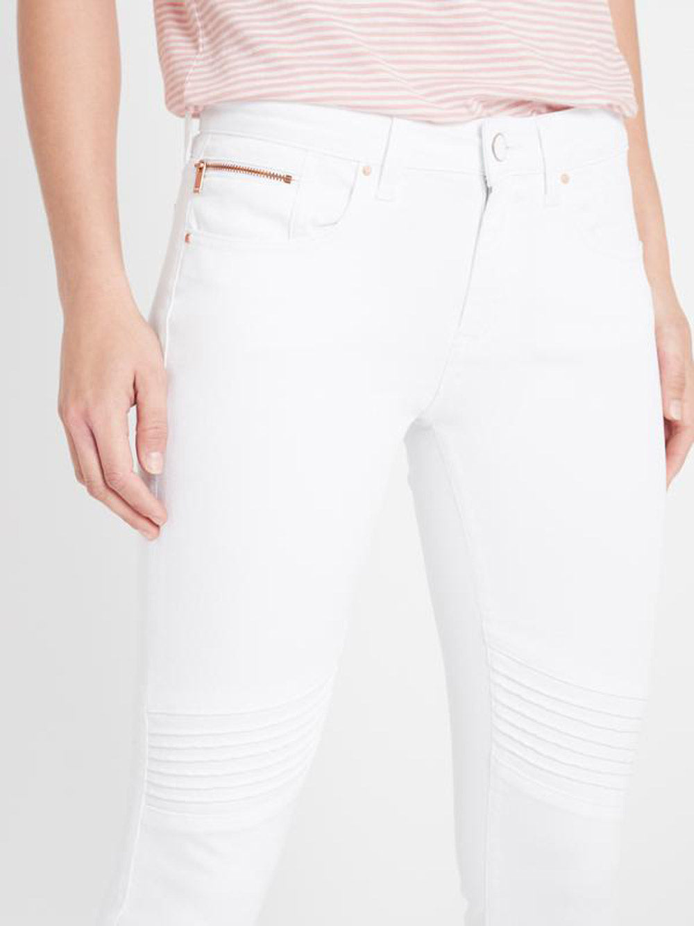MAVI Aura Super Skinny Ankle Biker in White Gold