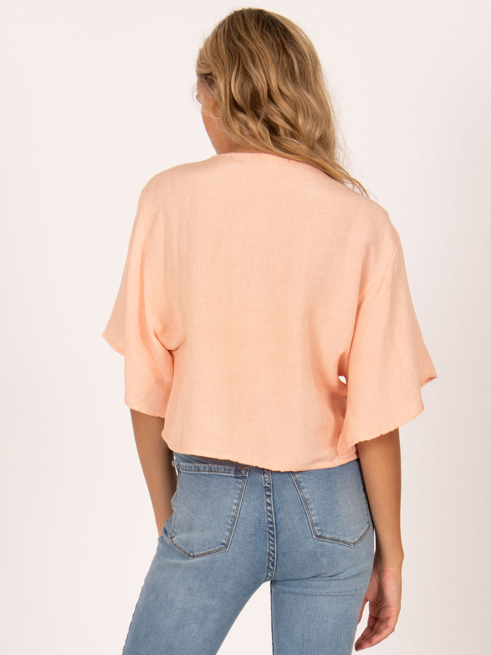 AMUSE SOCIETY Bungalow Short Sleeve Woven Crop Top - Peach