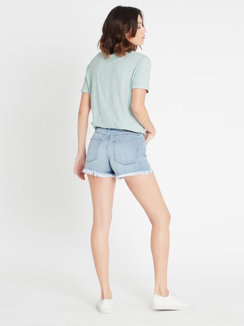 MAVI Claire High Rise Crop Short in Light Ripped Vintage