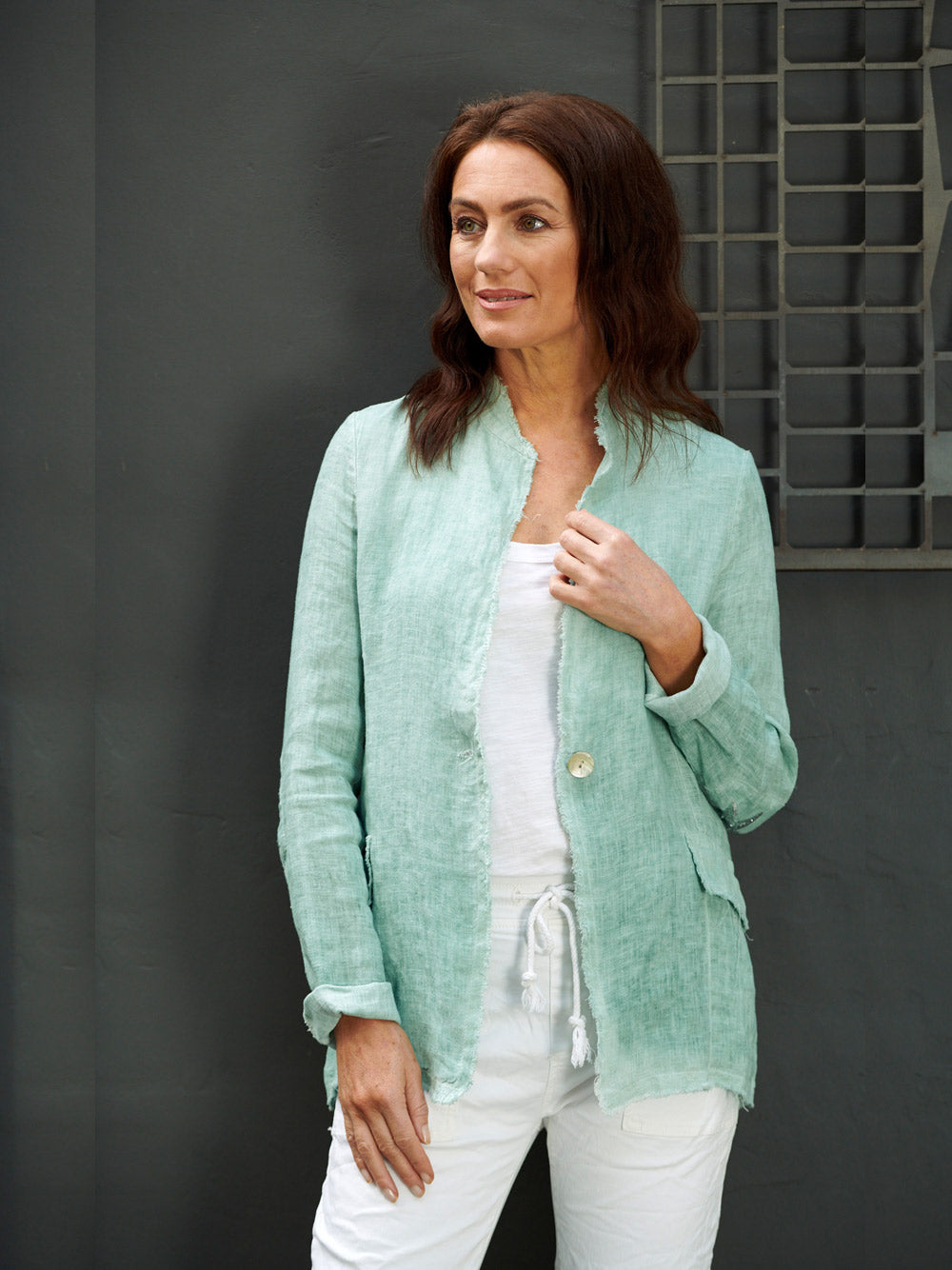 ITALIAN STAR Cosmo Linen Jacket - GREEN