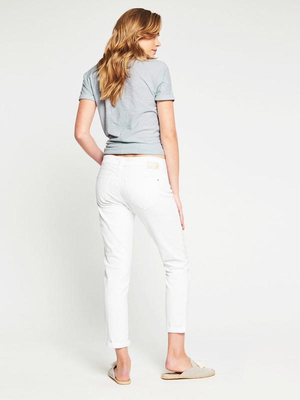 MAVI Emma Slim Boyfriend in White Stretch
