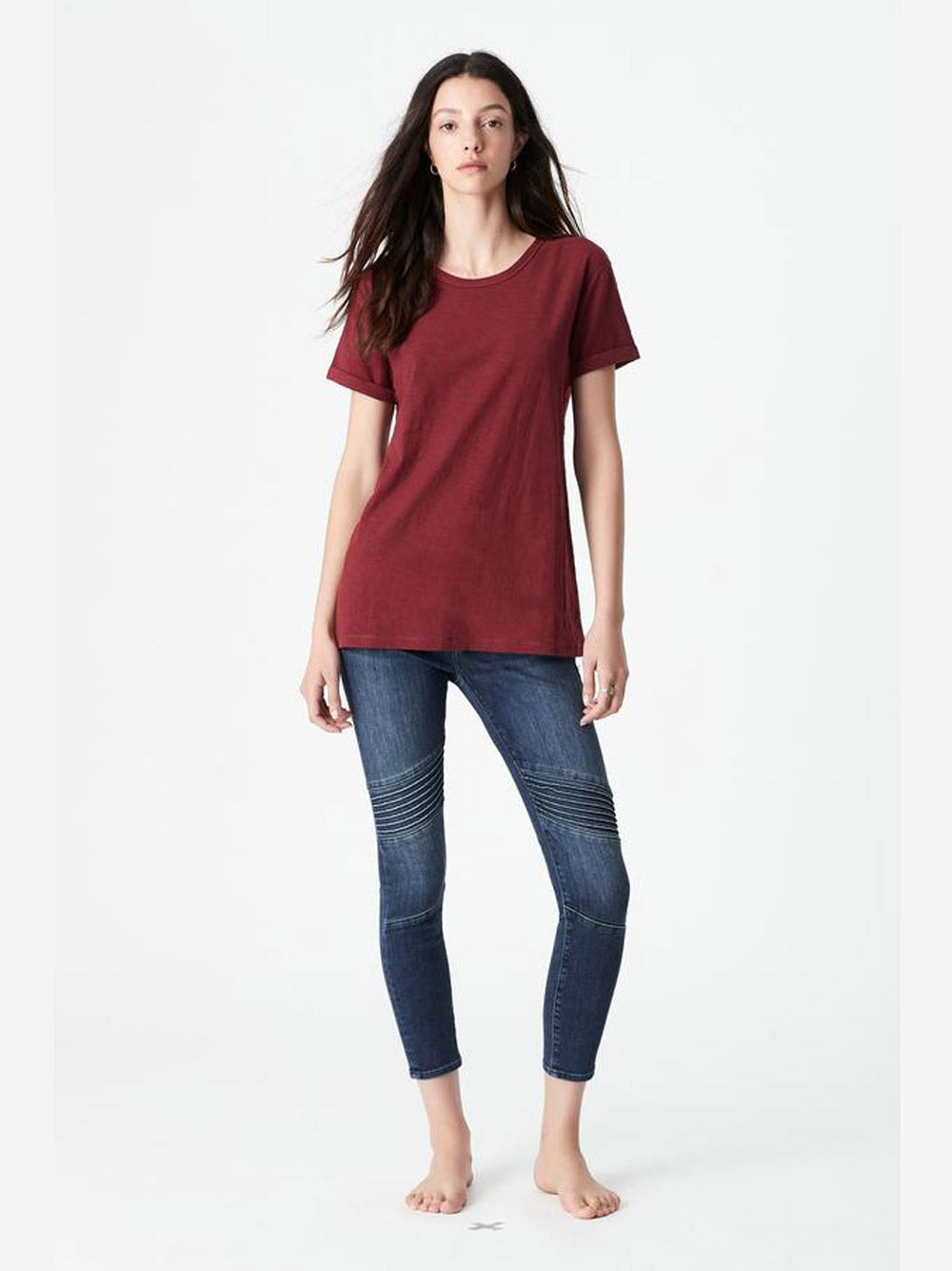 MAVI Evie Rolled Sleeve T-Shirt in Mulberry