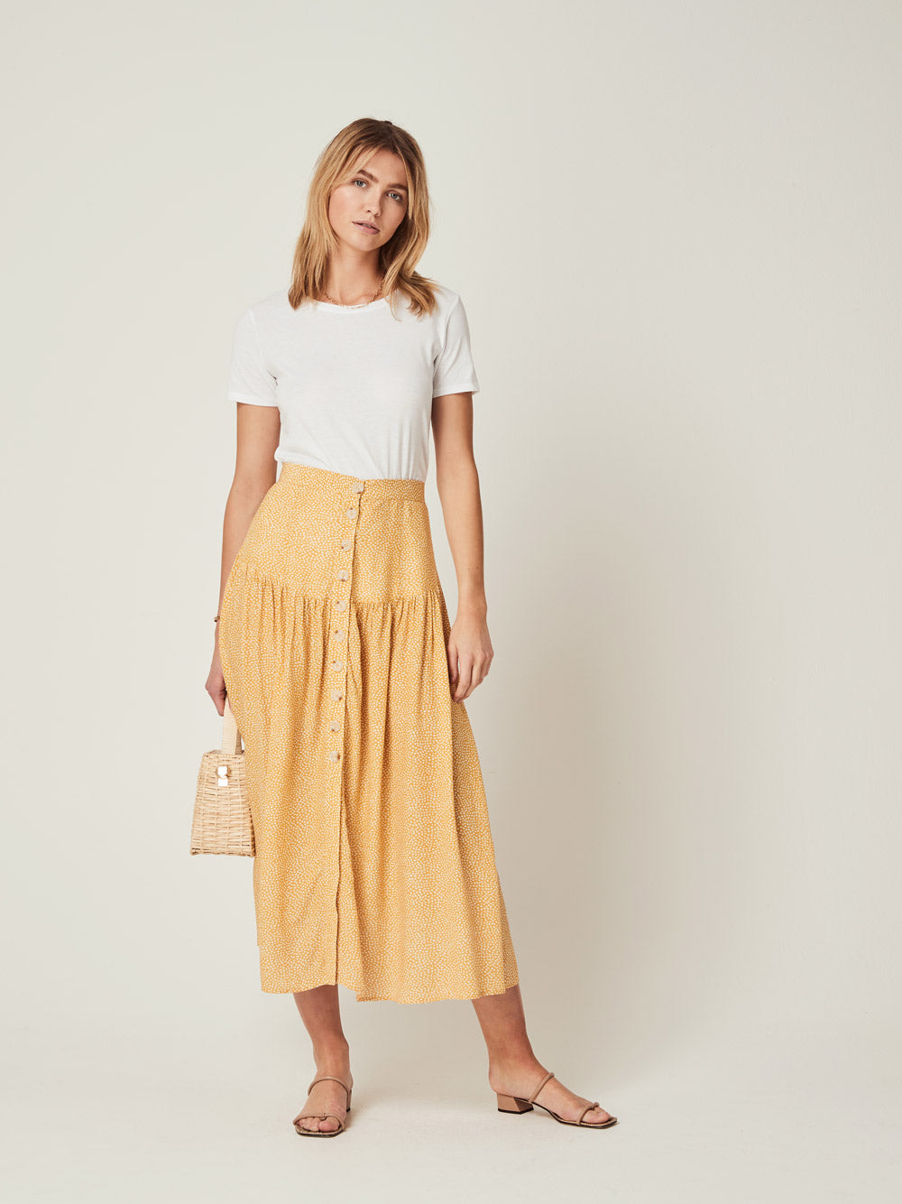 AUGUSTE THE LABEL Tear Drop Brooks Midi Skirt