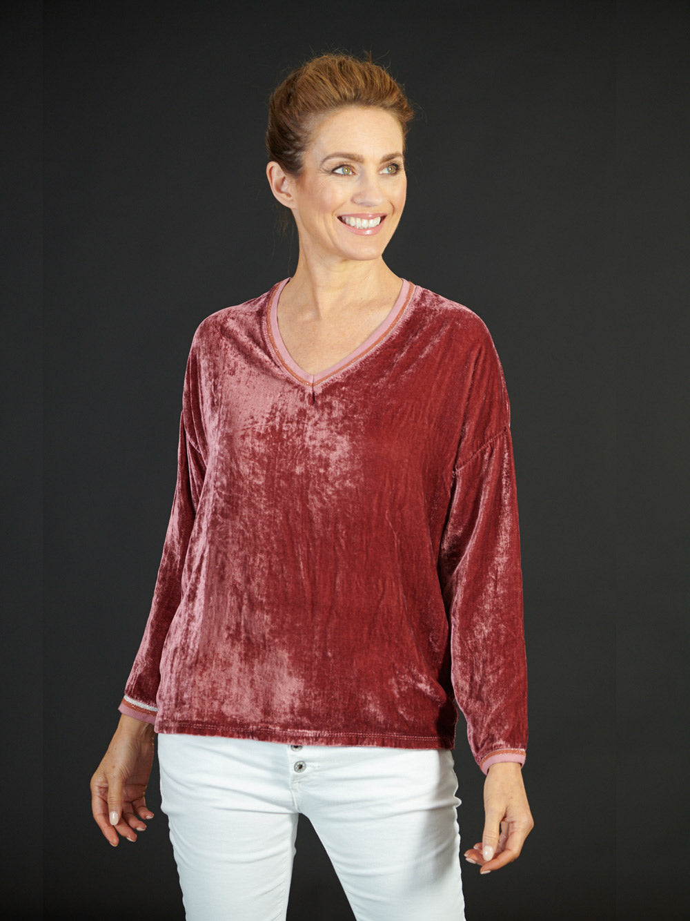 LOVE FROM ITALY Luxe Velvet Top - DUSTY ROSE