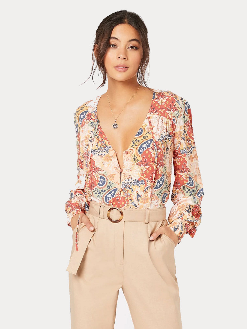 MINKPINK Patchwork Paisley Blouse