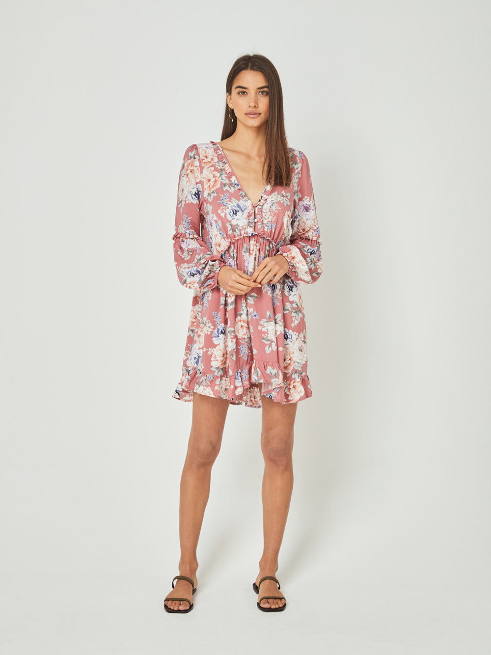 Auguste The Label Pascal Helena Sleeved Mini Dress Rose